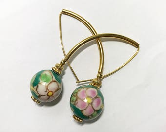 Long Hook Pull Thru Threader Earrings Teal Blue Green Pink Floral Painted Porcelain 15mm Rounds Gold Spacers Gold Tubes Gold Daisy Spacers