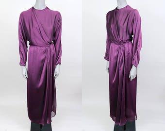 Vintage 70s Dress / 1970s Designer Albert Capraro Purple Chiffon Draped Dress M