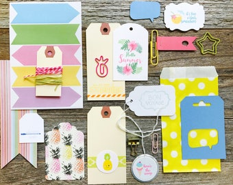 Pineapple Tag + Embellishment Kit Collection . Planner Supplies, Midori Travelers Notebook Listers Journal,  Summer Travel Bon Voyage