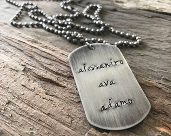 Men's Custom Stainless Steel Dog Tag Necklace, Dad Necklace, Personalized Gift, Steel Necklace, Dog Tag Jewelry, Rustic Necklace, Christmas