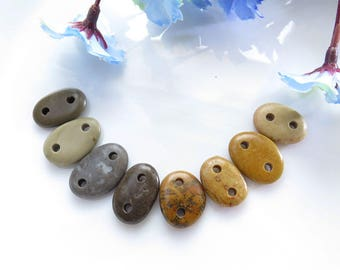 Double Drilled Natural Beach Stone Connectors, Medium- Small Organic Beads- 8 pcs Jewelry supplies, Pebble Connectors, Buttons