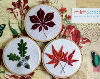 Embroidery KIT by mlmxoxo.  modern embroidery kit.  autumn leaves.  acorn.  chestnut leaf.  Japanese maple.  Canadian maple.  fall foliage.