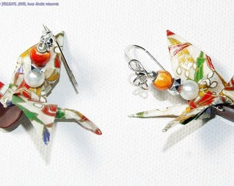 Birds motifs earrings Japanese mulicolores ORIGAMI