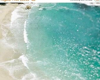 "SALE Aqua Blue Ocean Photograph, Coastal Wall Art, Water, Sea, Seascape, Aerial Photograph, Bokeh, Water Photograph ""Bokeh Waters"""
