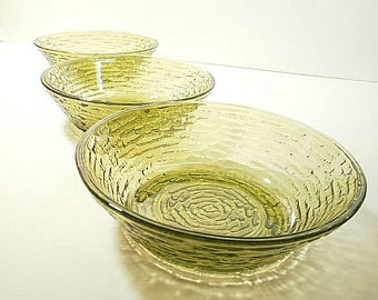 3 Anchor Hocking Soreno Avocado Green Cereal Bowls