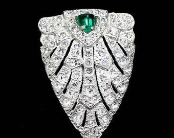 20% OFF SALE - Art Deco Crystal Clear and Emerald Rhinestone Pot Metal Dress / Fur Clip