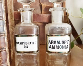 Set of 2 Antique Label Under Glass Apothecary Bottles