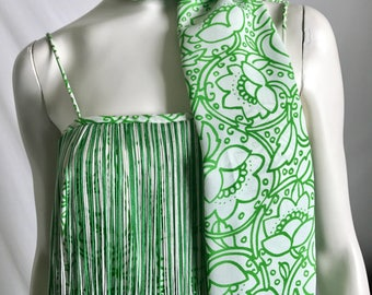 70's Personified Fringe to the Max Green and White Abtract Floral Spaghetti Strap Maxi With Long Scarf Headband or Wrap