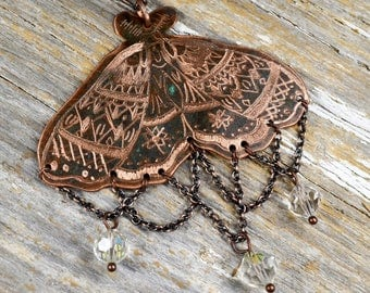Delicate Moth to the Flame Necklace, Hand Engraved & Mehndi Inspired Art To Wear Design - ReaganJuel: Reclaimed13