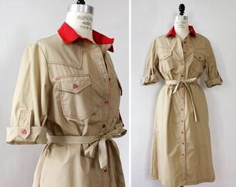 70s Dress S/M • Vintage Shirt Dress • Duster Jacket • Button Up Dress • Cotton Shirt Dress • Safari Dress • Vintage Duster | D869