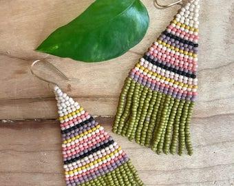 Green, mustard and salmon seed bead dangle earrings