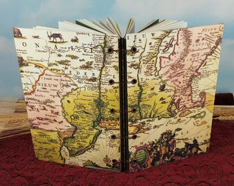 Ancient Map of New England Writing Journal with Coptic Binding and Circa 1700 Map Cover Art