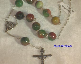 Multicolored Car Rosary,10 Decate Car Rosary,Auto Rosary,Rosary,Pocket Rosary,Catholic Rosary,Catholic,Prayer Beads,Travel Rosary,Cross