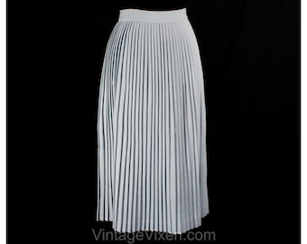 Size 6 1950s Skirt - Powder Blue Pleated 50s Office Skirt - Pastel Light Blue Knife Pleats - A-Line Flares with Movement - Waist 26 - 49941