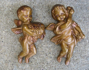 gold cherubs wall decor gold angels paper mache shabby romantic old world look