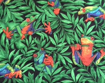 Colorful Tree Frogs Novelty Fabric Quilting Cotton 1 Yard X1006