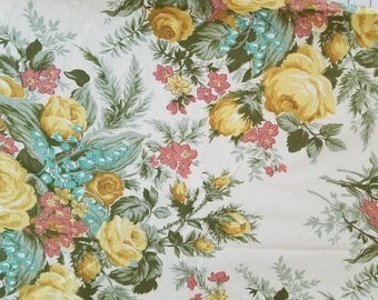 Waverly Victoria Rose Pattern Combed Cotton Floral Fabric Almost 1 Yard X1274