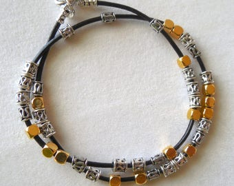 Silver and Gold Wrap Bracelet