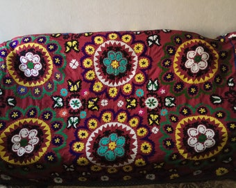 Vintage Uzbek silk hand embroidery on red cotton suzani. Bed cover, wall hanging, home decor suzani. SW064