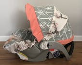 Fawn in the Tulip stag deer fabric gray arrows & Coral carseat cover with minky dot strap covers