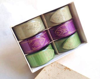 1930s Galalith serviette rings in purple green / 30s marbled Sufragette casein napkin rings