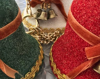 Three 1950s sugar bells on a gold hanging chain / Vintage Christmas Decor / Christmas Bells / 1950s