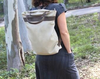 "Nude backpack, convertible backpack, vegan backpack, 15"" laptop backpack, travel Backpack women, diaper backpack, student backpack, rucksack"