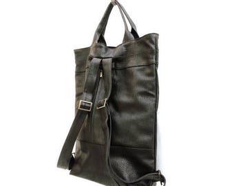 Black Laptop Backpack, vegan leather backpack purse, convertible bag, vegan backpack, black backpack, work bag, travel backpack