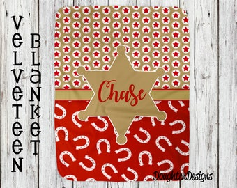 Personalized blanket, Cowboy Blanket, Personalized name blanket, Birthday gift, Boy Blanket, Minky Blanket, Personalized Cowboy Blanket