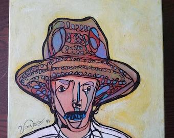 Uncle Juan - original 8x8 painting on canvas