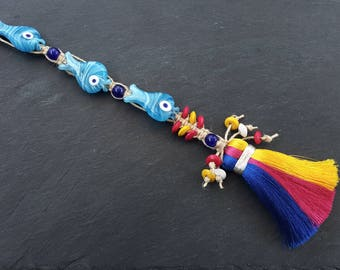 Fun Long Pink Blue Yellow Turkish Evil Eye Wall Hanging Home Garden Decoration with Three Fish Evileye Traditional Artisan Beads - No:12