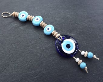 Sky Blue Navy Turkish Evil Eye Wall Hanging Home Garden Decoration with Evileye Traditional Artisan Beads - No:52