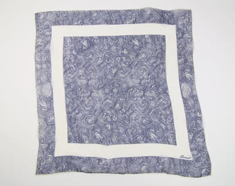 VINTAGE Scarf Sheer 1960s Blue White Square