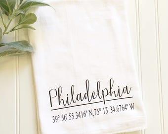 custom coordinates tea towel, for the bride, personalized tea towel, newlywed gift, housewarming gift, address tea towel, hostess gift