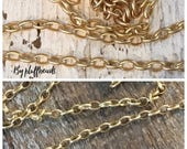 SALE Oval rolo chain 2x3mm PETITE soldered solid brass Matte brushed GOLD plating