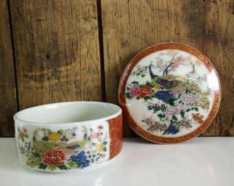Vintage Satsuma Ceramic Music Box / Peacock Jewelry box / Trinket box