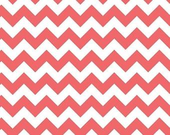Winter Sale Riley Blake Fabric - Half Yard of Small Chevron in Rouge