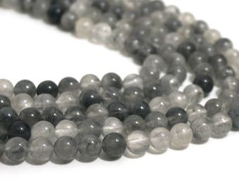 8mm Cloud Quartz beads, round gemstone bead, natural grey, full & half strands available  (1270S)