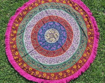Traditional Mandala Roundie with Pink Fringe Mandala Tapestry Beach Blanket Yoga Mat Meditation Mat Dorm Decor Hippie Tapestry