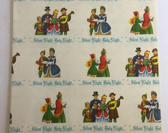 Vintage Christmas Wrapping Paper, Carollers, Silent Night Holy Night,  Christmas Gift Wrap, Retro Gift Wrap, Retro Christmas 1950s Christmas