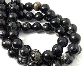 Fired Agate Bead, 10mm, Black and Cream, Crackle Pattern, Round, Smooth, Gemstone Beads, Large, 15.5 Inch Strand - ID 2241