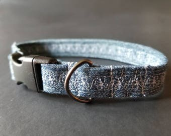 "5/8"" fits not-adjustable, Puppy collar, small dog collar, dog collar, girl collar, boy collar, denim collar, eco friendly,"