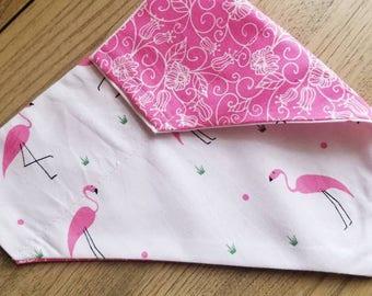 Pink flamingos, dog bandana, tiny dog bandana, dog gifts, holiday bandana, dog clothing, floral bandana, reversible bandana, cat bandana