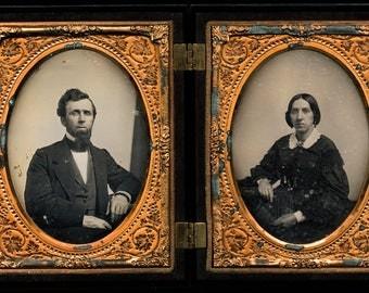 Double 1/4 Daguerreotypes - Man & Wife in Fancy Figural Case - Whipple?