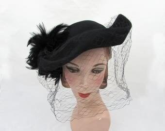 1940s black tricorn hat - black felt, shaped brim, feather accent  - The Dayton Co high design
