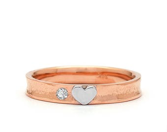 Heart Wedding Ring - Diamond Wedding Ring - Unique Wedding Ring - Rose Gold Wedding Band