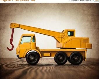 FLASH SALE til MIDNIGHT Vintage Toy Tractor Crane , One Photo Print, Boys Room decor, Construction Vehicle, Boys Nursery Ideas