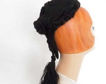 1930s black hat snood, vintage Gage lambswool fur