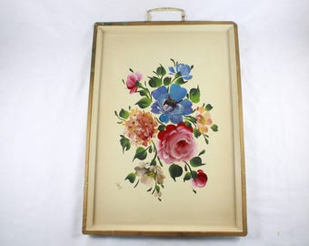 Decorative Tray Toleware Nashco Floral Tray Metal Chippy Farmhouse Cottage Chic Hand Painted Vintage 1950s C225