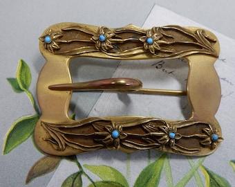Gold Tone Art Nouveau Sash Pin or Brooch w/ Buckle Design    OCA53